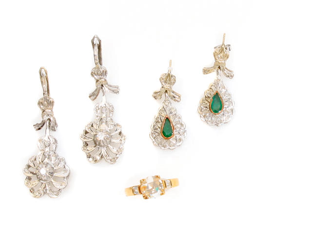 A group of diamond, 14k gold and gem-set jewelry