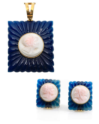 A group of cameo, blue stone and gold pendant and matching pair of earrings
