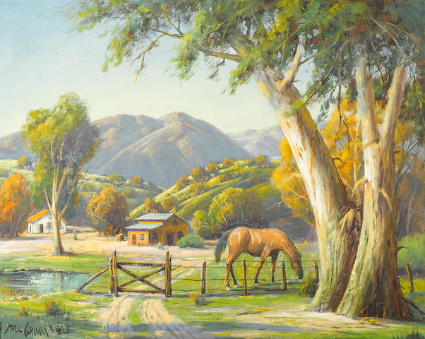 Paul Grimm, Horse grazing beneath trees.