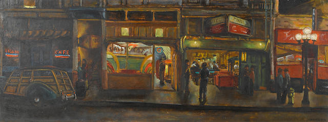 Joseph Chabot (American) Los Angeles street scene, 1949 18 x 48in