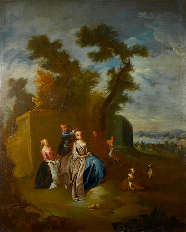 French School, 18th Century A lady and attendants in a classical landscape 45 1/2 x 37in