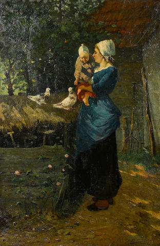 French School A peasant woman and child in a farmyard 32 x 21 1/4in