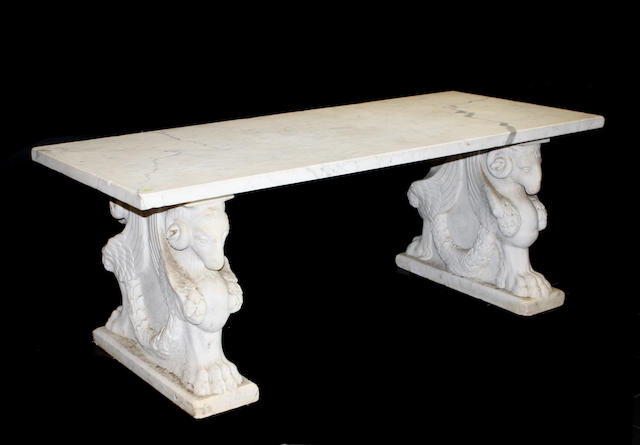 A Renaissance style carved marble bench