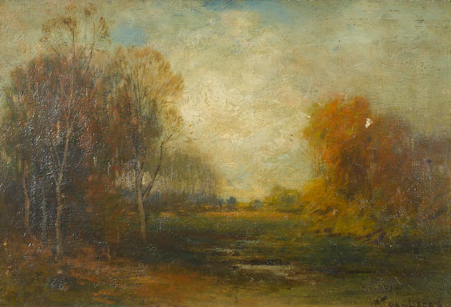 Alexander Theobald van Laer (American, 1857-1920) Landscape Evening, Early Spring 12 x 18in