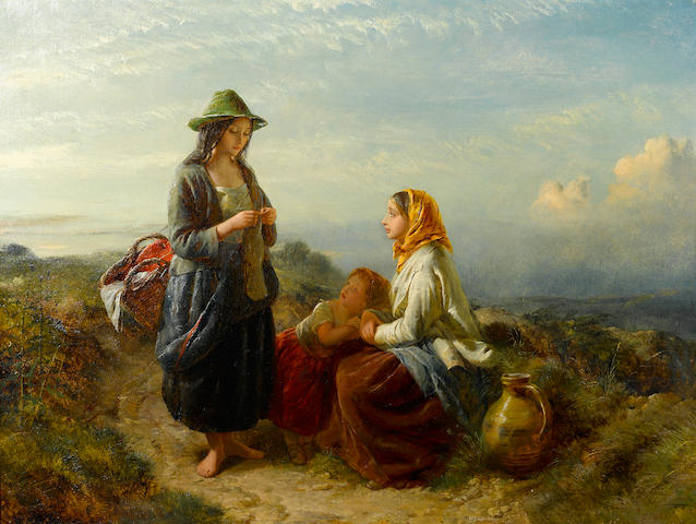 Edward John Cobbett (British, 1815-1899) Gossips by the roadside 30 1/4 x 40in