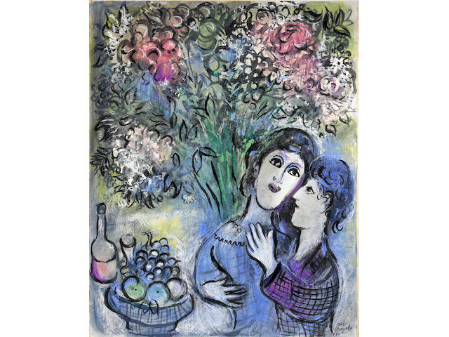 Marc Chagall (1887-1985) Les Amoureux 25 7/8 x 20 1/4in. (65 x 51.5cm)