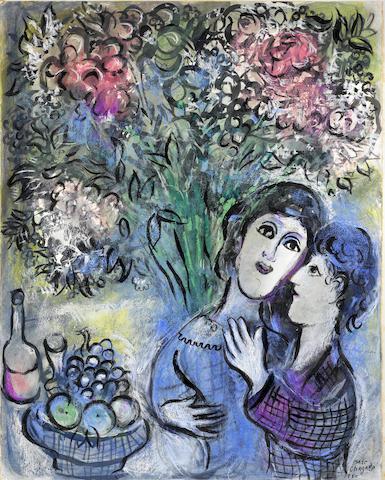 MARC CHAGALL (1887-1985) Les amoureux aux fruits ou Deux têtes 25 7/8 x 20 1/16in. (65 x 51cm)