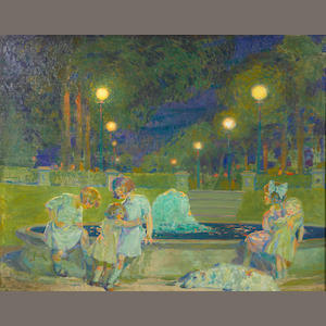 Albert M. Garretson (American, born 1877), Young girls in a park at night, oil on canvas, signed lower left