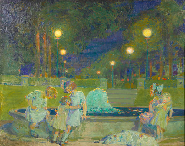 Albert M. Garretson (American, born 1877) Park at Twilight 25 x 32in