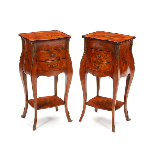A pair of Louis XV style marquetry side tables