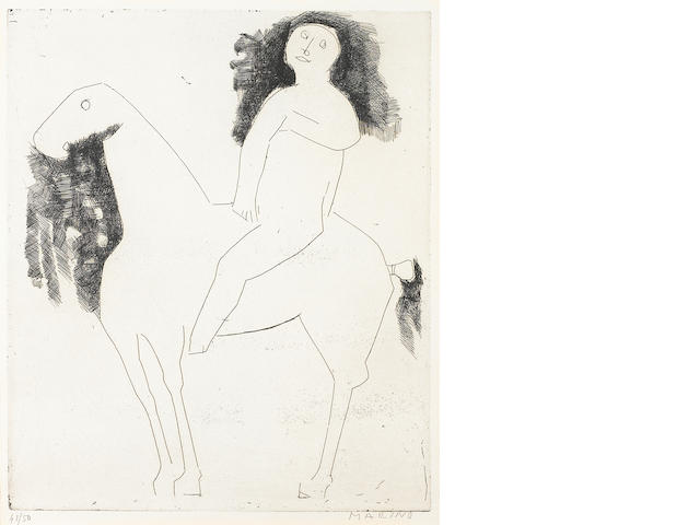 Marino Marini, Un Cavaliere, 1954 (G. A41), signed and numbered '41/150', etching, 14 1/2 x 11 1/2in