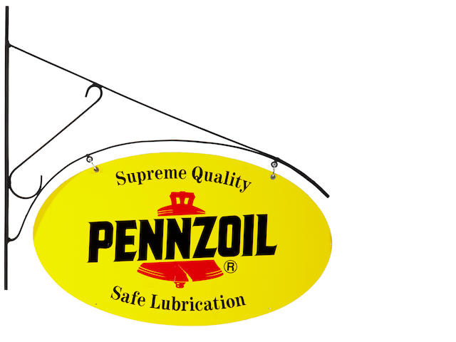 A NOS double-sided 'Supreme Quality' Pennzoil tin painted sign, c. 1970s