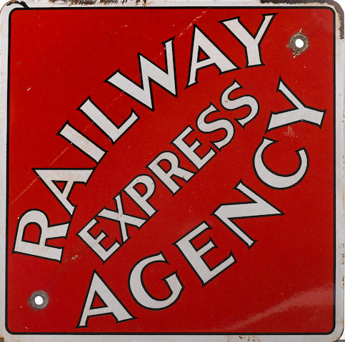 A rare 'Railway Express Agency Station' sign