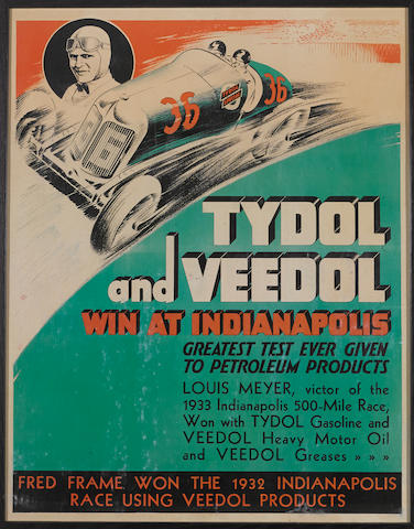 A Tydol-Vedol 'Win at Indianapolis' advertising poster,