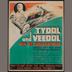 A Tydol-Vedol 'Win at Indianapolis' advertising poster