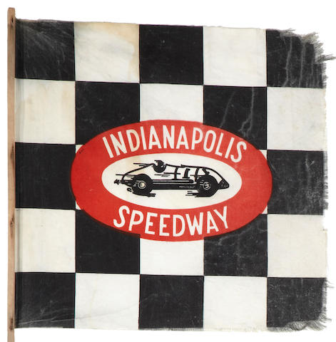 A 1940s era Indianapolis Speedway souvenir checkered stick flag,