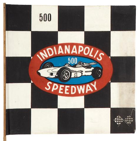 A 1960s era Indianapolis Speedway souvenir stick flag