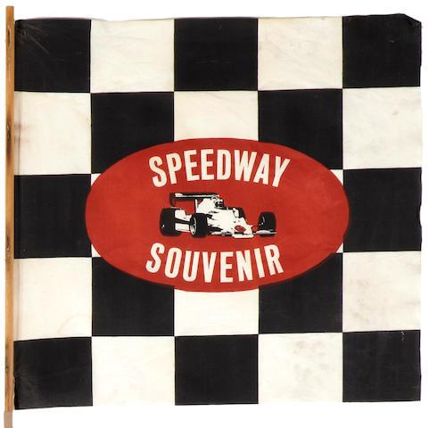 A 1970s era Indianapolis Speedway souvenir stick flag