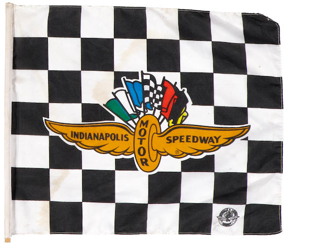 A officially licenced Indianapolis Motor Speedway souvenir stick flag,