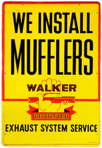 A Walker Certified 'We Install Mufflers' tin painted sign, c. 1950s,
