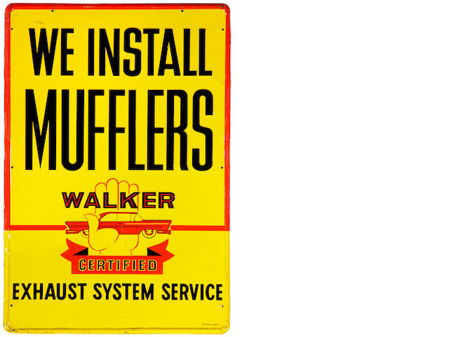 A Walker Certified 'We Install Mufflers' tin painted sign, c. 1950s