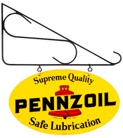 A good, double-sided Pennzoil service station sign, 1977,