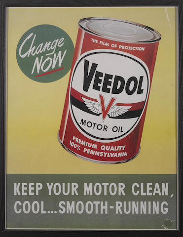 A Veedol motor oil advertising window card,1958