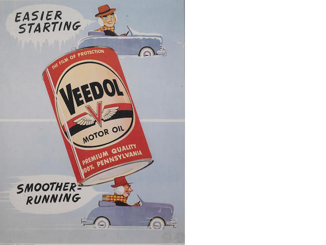 Veedol motor Oil advertising window card, 1958