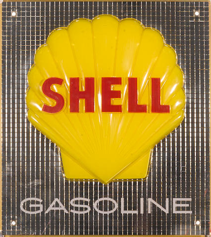 A three dimensional Shell gasoline pump plate