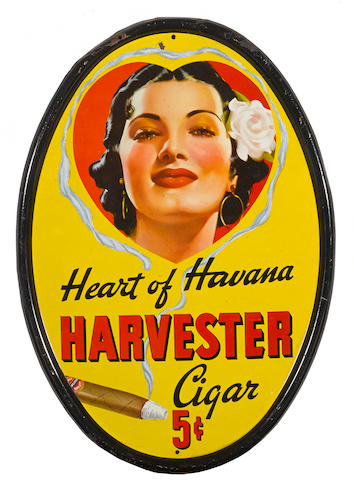 A vintage heart of Havana Harvester cigar sign,