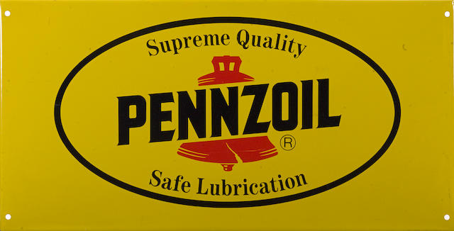 A NOS Pennzoil service station sign,