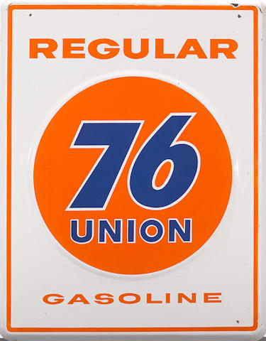 A good large size union 76 gasoline pump plate, c. 1950s,