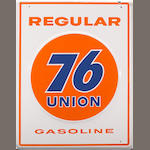 A good large size union 76 gasoline pump plate circa 1950s