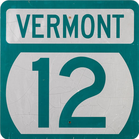 A vintage Vermont Highway 12 road sign,