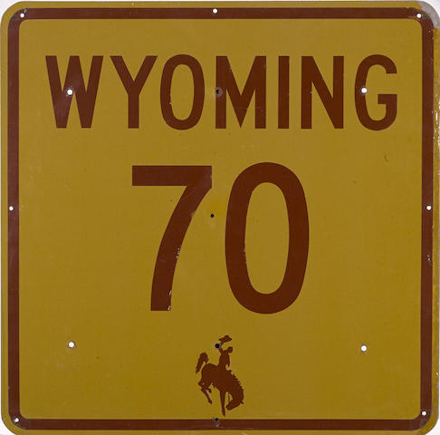 A vintage Wyoming Highway 70 road sign