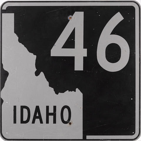 A vintage Idaho Highway 46 road sign,