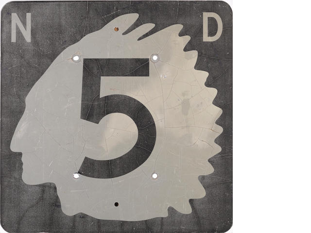 A vintage North Dakota Hwy. 5 road sign