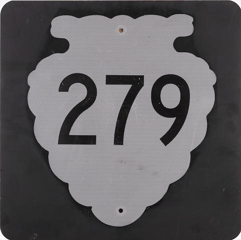 A vintage Montana Highway 279 road sign,