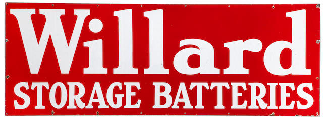 A large 'Willard Storage Batteries' garage sign, c. 1950s,