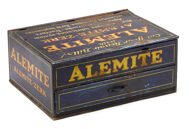 An Alemite high-pressure lubricants systems countertop display cabinet, c. 1930s