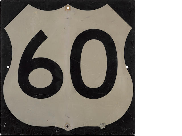 A vintage US W. Virginia Hwy. 60  road sign