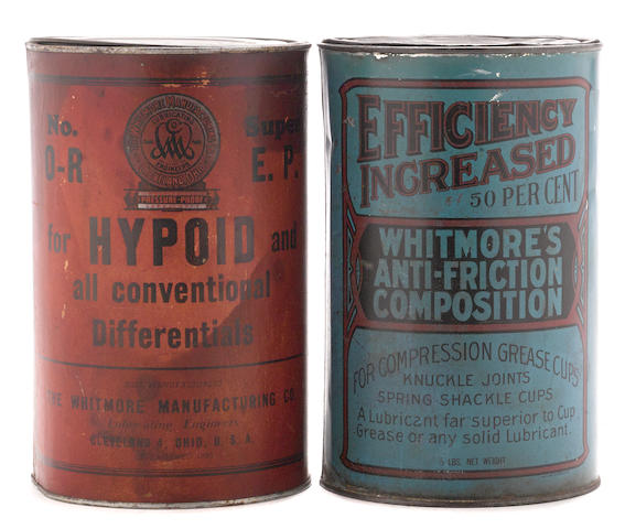 Two Whitmore 5 pound grease cans,