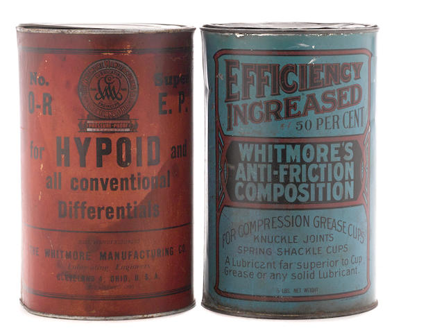 Two Whitmore 5 pound grease cans
