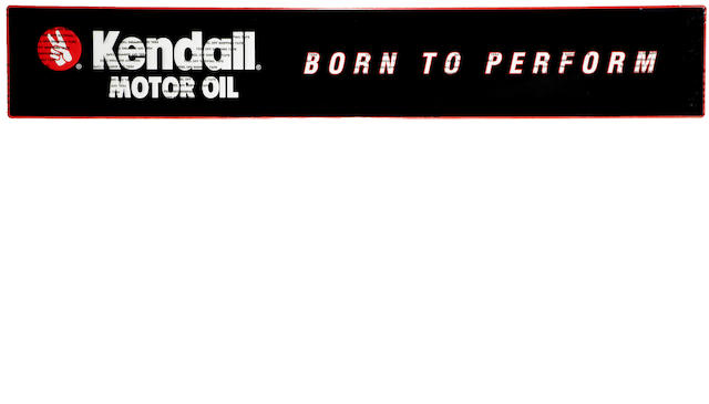 "A NOS Kenndall motor oil 'Born to Perform"" tin embossed', self framed garage sign"