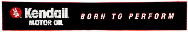 """A NOS Kenndall motor oil 'Born to Perform"""" tin embossed', self framed garage sign,"""