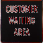 A Kenndall motor oil 'Customer Waiting Area' garage sign