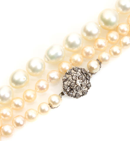 A group of two cultured pearl necklaces