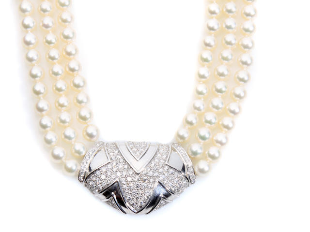 A cultured pearl and diamond multi-strand necklace