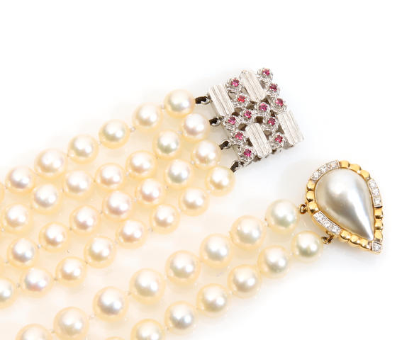 A group of cultured pearl, pink sapphire and gold jewelry
