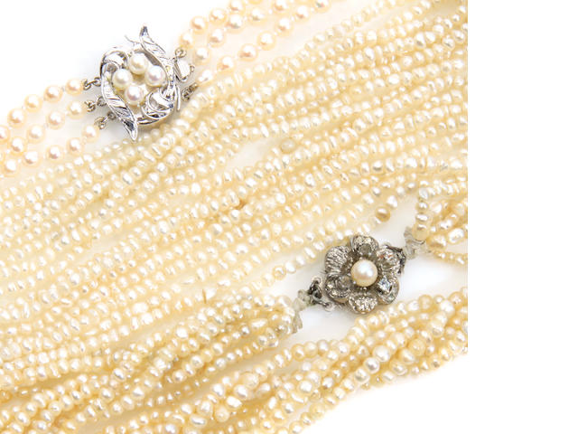 A group of cultured pearl and gold jewelry